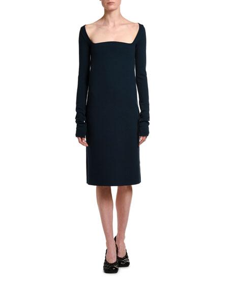 Bottega Veneta Wool Crepe Square-Neck Dress