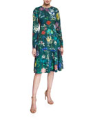 Lela Rose Long-Sleeve Floral-Print Dress