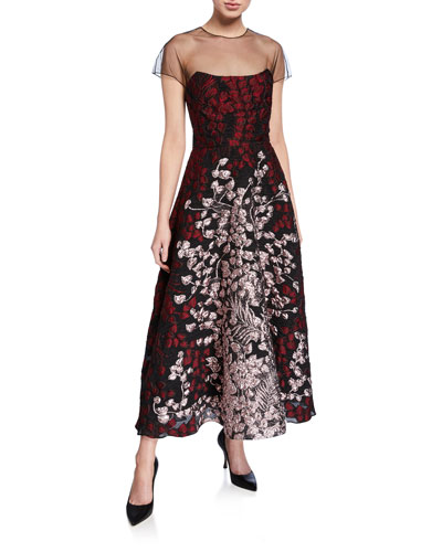 Organza-Bodice Illusion Midi Dress