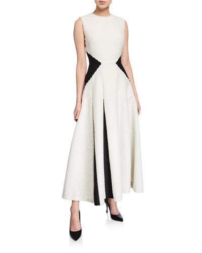 Two-Tone Godet Skirt Midi Dress