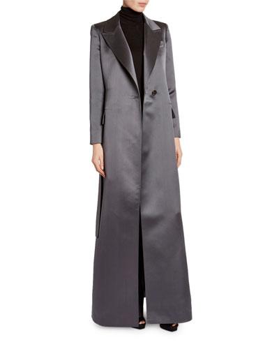 Floor-Length Satin Evening Coat