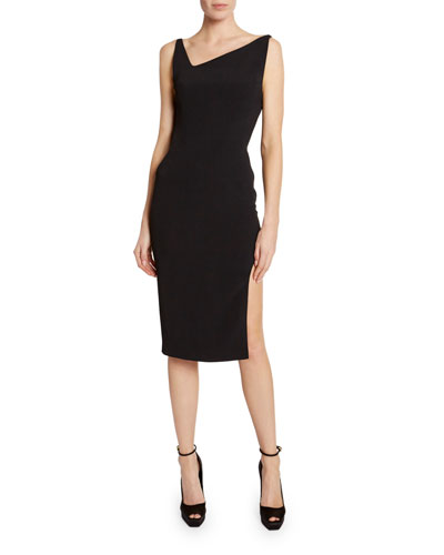 Asymmetric-Draped Open-Back Bodycon Dress