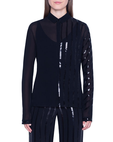 Akris Sheer Striped-Sequined Button-Front Shirt w/ Cami
