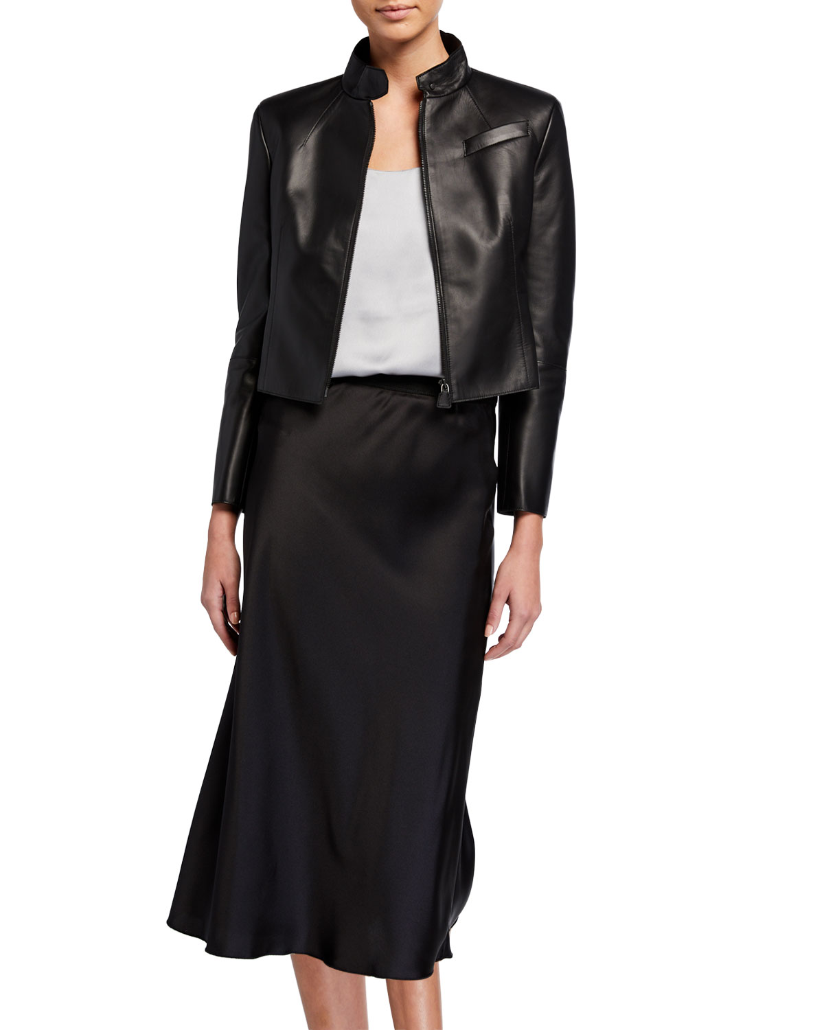 Cropped Leather Zip-Front Jacket