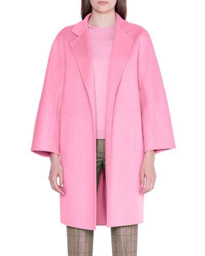 Pink Jacket Coat Short Sleeve Single Breast Button Faux Kashmir Wool Size 10