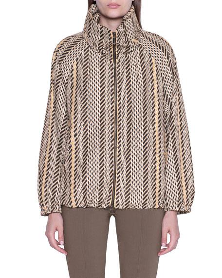 Akris Tweed Print Hooded Parka Jacket