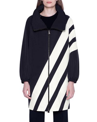 Diagonal-Striped Silk Knee-Length Parka Jacket