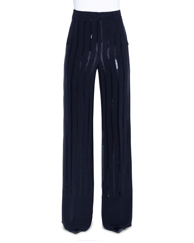 Sequin-Striped Silk Full-Leg Pants