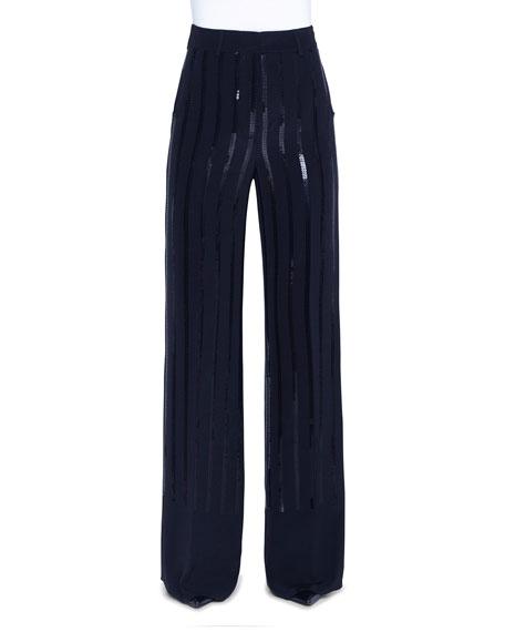 Akris Floyd Sequin-Striped Silk Full-Leg Pants