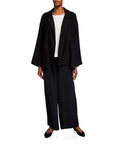 Wool-Silk Open-Front Jacket