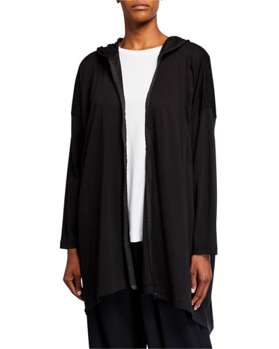 Smaller Front Longer Back Hooded Zipped Top
