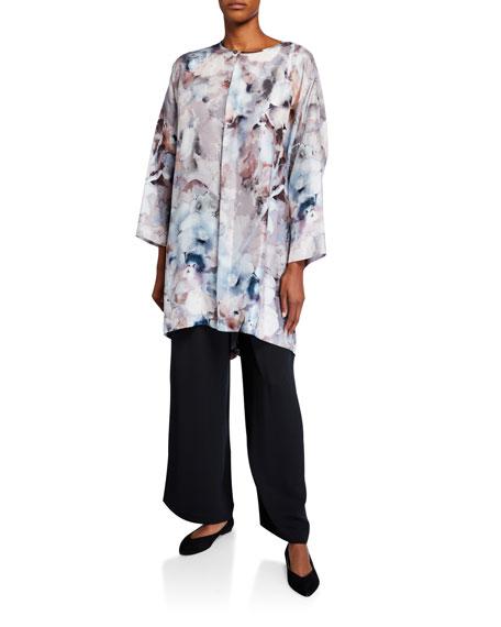 Eskandar Floral-Print Silk Wide High-Low Shirt
