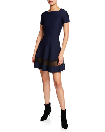 Short-Sleeve Bateau Neck Sheer Band Dress