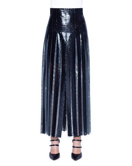 Akris Two-Tone Sequined Pleated Skirt