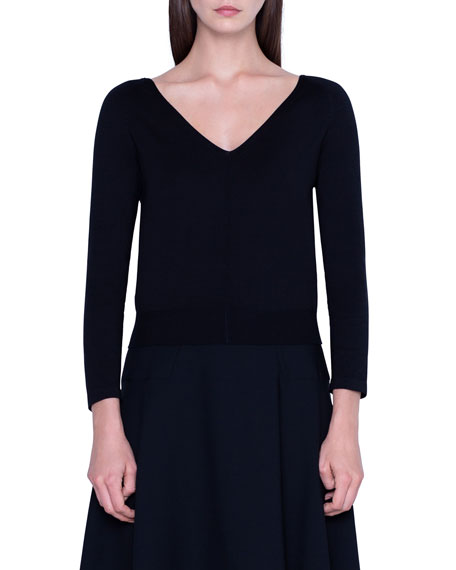 Akris Stretch Silk 3/4-Sleeve Sweater