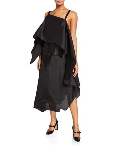 Draped Organza Midi Dress
