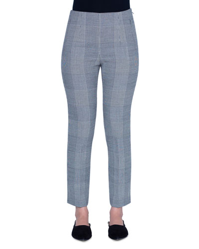 Plaid Denim Crop Pants