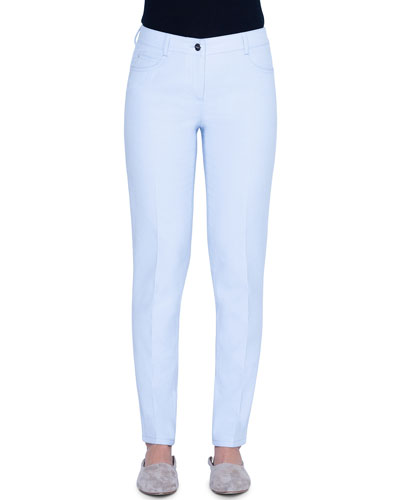 Cotton-Silk Straight-Leg Jeans
