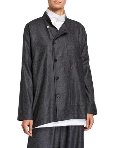 Wool-Silk Side-Button Mandarin Jacket