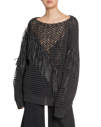 Crocheted Fringe Sweater