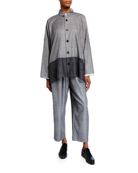 Eskandar Wool-Silk Mandarin Jacket
