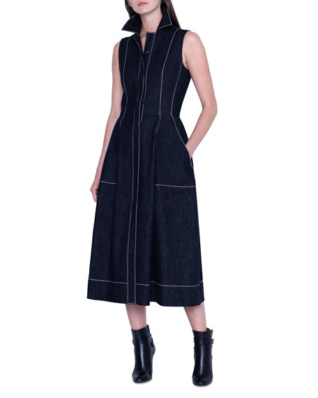Akris Topstitched Chambray Sleeveless Shirtdress