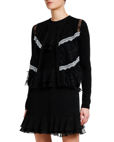 Ruffled Lace-Trim Cardigan