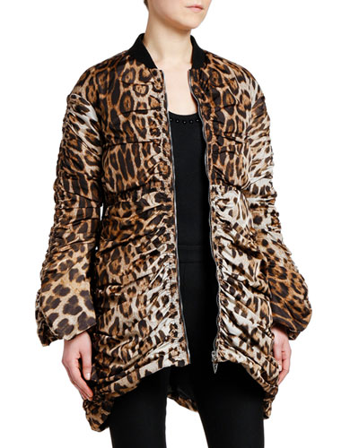 Animal-Print Quilted Oversized Coat