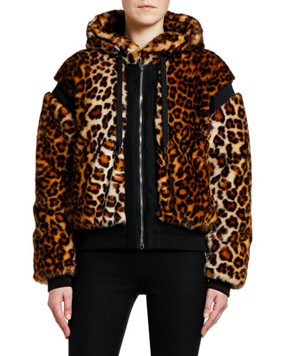 Animal-Print Faux-Fur Bomber Jacket
