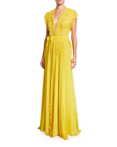 Ruffle-Trimmed Silk Cap-Sleeve Gown