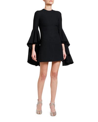 3/4-Sleeve Flounce Bell-Sleeve Dress