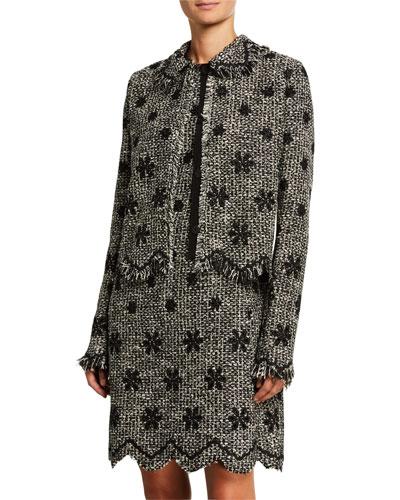 Floral Boucle Jacket with Zigzag Hem