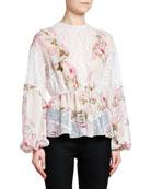 Giambattista Valli Full-Sleeve Lace-Inset Floral Chiffon Top