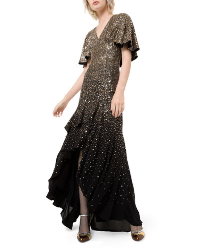 Silk Confetti Capelet-Sleeve Gown