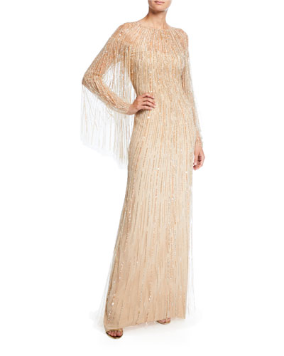 Linear Crystal Embroidered Tulle Cape Gown