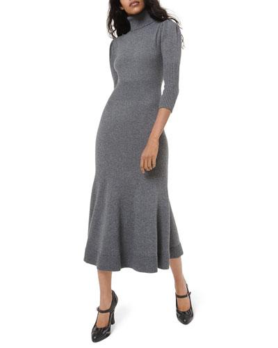 Cashmere Puff-Sleeve Midi Dress