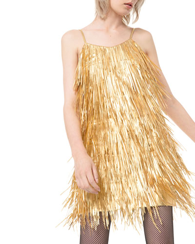 Metallic Fringed-Leather Slip Dress