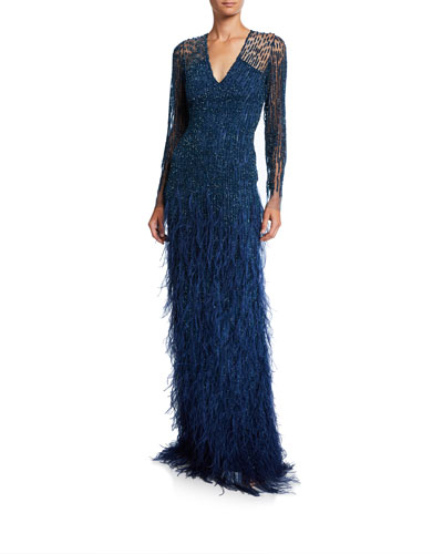 Ombre Sequined Illusion Long-Sleeve Gown