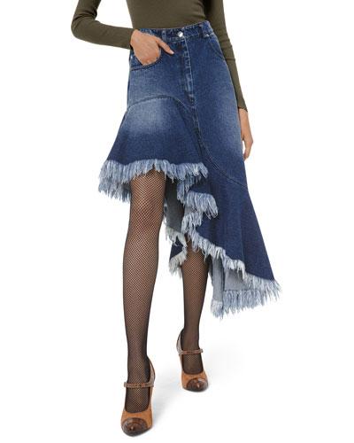 Asymmetric Frayed Denim Skirt