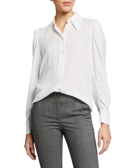 Michael Kors Collection Silk Puff-Sleeve Shirt