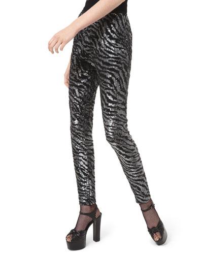 Tiger-Embroidered Cigarette Pants