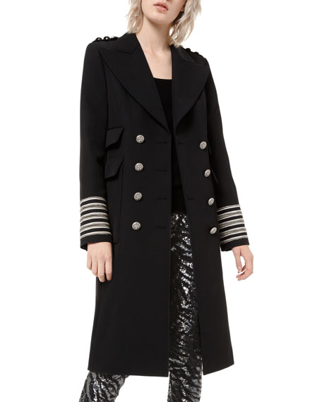 Theory Double Breasted Military Trench Travel Wool Coat