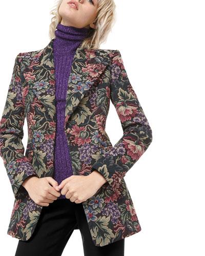 Floral Brocade Tuxedo Blazer