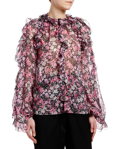 Ruffled-Shoulder Floral-Print Chiffon Blouse