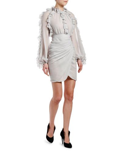 Ruffle-Trim Wrap-Skirt Dress
