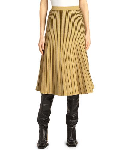 Piped Pleated Metallic Midi Skirt