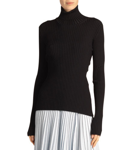 Ribbed Turtleneck Sweater with Button Detail