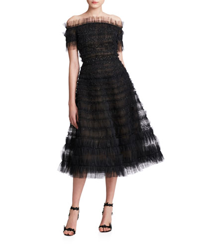 Off-the-Shoulder Shimmered Tiered-Tulle Dress