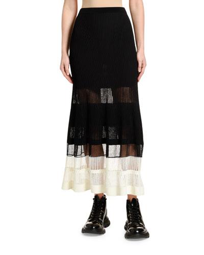 English Ottoman Knit Ankle-Length Skirt