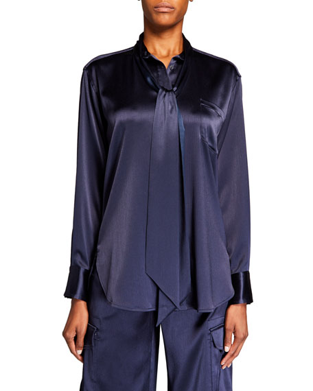 Sies Marjan Satin Tie-Neck Button-Front Blouse
